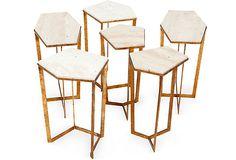 Regina Andrew Puzzle Tables, Set of 6 on OneKingsLane.com - travertine and gold leaf.  Completely versatile!