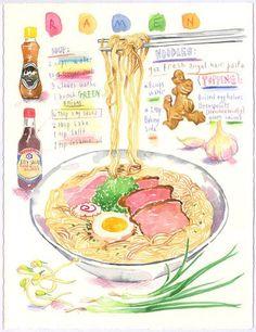 Ramen recipe. Original watercolor painting