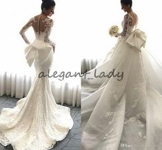Steven Khalil 2018 Detachable Train Mermaid Wedding Dresses with Big Bow Lace Floral Long Sleeve Church Train Garden Wedding Gowns Overskirt Evening Dress Mermaid Wedding Dress Country Wedding Dress Online with $228.58/Piece on Alegant_lady's Store | DHgate.com