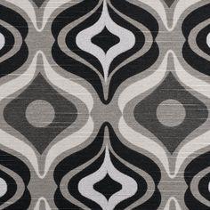 Black Geometric Retro Cotton Blend