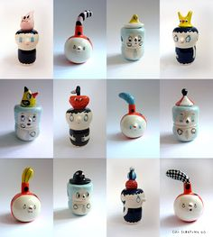 Headed vases by Lili Scratchy.
