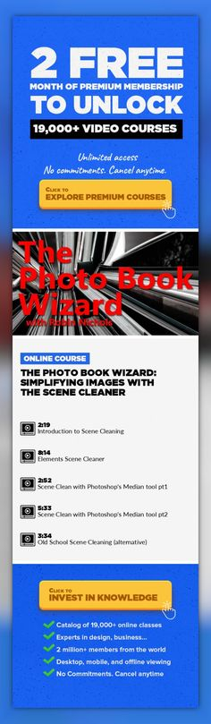 The Photo Book Wizard: Simplifying images with the Scene Cleaner Photography, Adobe Photoshop, Creative, Book Design, Photoshop Elements #onlinecourses #onlinebusinesswebsite #CoursesDesign   We have all had the same problem - you turn up at a cool location only to find thousands of other people have had the same idea, preventing you from getting a less crowded image of a great location. Here's a ...