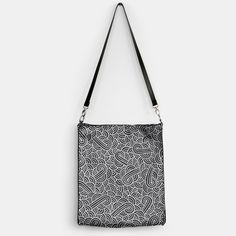 """Black and silver zentangles"" Handbag by Savousepate on Live Heroes #bag #pattern #graphic #modern #bling #abstract #doodles #zentangles #scrolls #spirals #arabesques #black #grey #gray #silver"