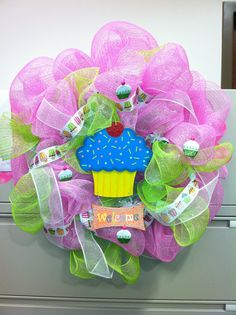 Cupcake Deco Mesh Wreath