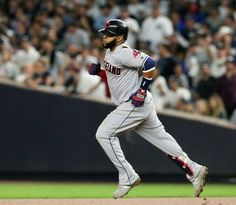 Indians first baseman Carlos Santana rounds first base after hitting a two run home run in the fourth inning of Game 4 of the ALDS at Yankee Stadium. October 9, 2017 (Chuck Crow / The Plain Dealer). Series Tied 2-2