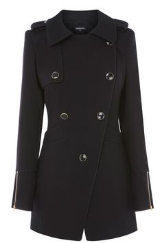from double breasted to single button   Black ASYMMETRIC REEFER COAT.   Warehouse