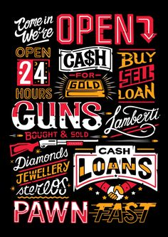 T-shirt design for Mingo Lamberti's Pawn Shop range inspired by signage.