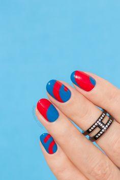 Blue and red nails    abstract nail art
