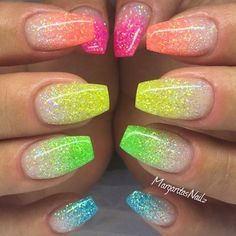 Used Sharpie Highlighters over glitter nail polish to create this rainbow nail look in minutes! EASY, DIY, nail art hack for Spring, or Summer. Unique, quick and easy nail art design ideas for spring and summer Glow Nails, Diy Nails, Cute Nails, Pretty Nails, Acrylic Nails Coffin Glitter, Best Acrylic Nails, Glitter Nail Art, Coffin Nails, Nail Glitter Design