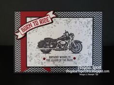 Here's a little something for a man in your life featuring the Stampin' Up! One Wild Ride stamp set.      I started with a Basic Black card ...