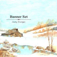 Etsy Banner Set - Winter - Christmas - Etsy Shop Set - Rustic Barn - Etsy Banners - Snow