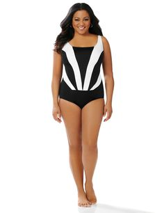 Colorblock Cascade Swimsuit | Catherines Bold colorblock rays cascade down the front of our classic-cut swimsuit to create a flattering silhouette. A solid bottom finishes the look. Molded cups and a hidden mesh tummy liner offer a supportive, slimming fit. Thick straps lead to the scoop neckline. Solid back. Catherines swimwear is specifically designed to fit and flatter the plus size woman. #catherinesplus #plussize #plussizefashion #swimsuit #swimwear #resortwear