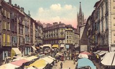 Place des Bancs, jour de marché, carte postale colorisée, vers 1925 - Bfm Limoges. Saint Michel, Limoges, Limousin, Rue, Place, Painting, Benches, 19th Century, Travel