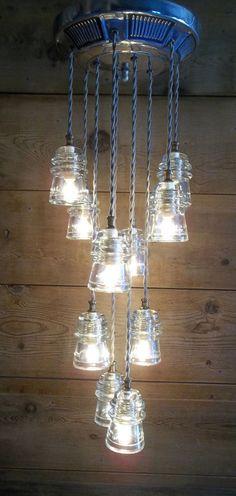 "Glass Insulator Ceiling Fixture '69 CHEVY HUBCAP 10 lights 30""L Hemingray 16"