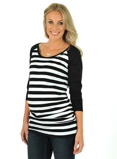 Pumpkin Patch - tops - stripe raglan tee - W3MT11011 - black - xs to xlarge