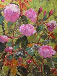 """Rose Bush"" - Original Fine Art for Sale - © Andrew Daniel"