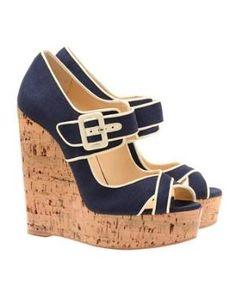 Browns fashion & designer clothes & clothing | CHRISTIAN LOUBOUTIN | \u00E2Melides\u00E2 canvas and cork platform wedges