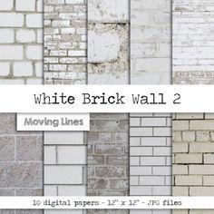 White Brick Wallpaper Digital Paper Pack Instant by MovingLines Faux Brick Walls, White Brick Walls, White Washed Brick Exterior, Brick Tile Wall, Faux Brick Wall Panels, Brick Wallpaper Bedroom, Bathroom Wallpaper Stone, White Brick Wallpaper Kitchen, Brick Backsplash White Cabinets