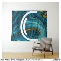Blue Watercolor C Monogram Tapestry Marble Tapestry, Christmas Card Holders, Bed Spreads, Vivid Colors, Picnic Blanket, Monogram, Watercolor, Artwork, Prints