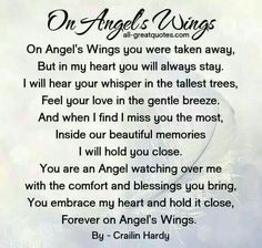 Remembrance Poems: On Angel Wings Poem Remembrance Poems, Memorial Poems, Funeral Memorial, Miss Mom, Miss You Dad, Grief Poems, Son Poems, Funeral Poems, Heaven Quotes