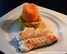fish with parsnip and carrot puree and cream curry cabbage/ skrei mit pastinaken-karotten-püree und sahne-curry-wirsing