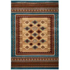 Rizzy Home Bellevue Double Pointed Area Rug 7 Ft. 10 In. X 10 Ft. 10 In. Tan Model BLVBV371200097110, Blue