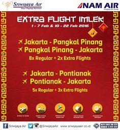 Mengantisipasi lonjakan penumpang dalam rangka perayaan Tahun Baru Cina (Imlek) 2567, sejak tanggal 1 sampai dengan 22 Februari 2016 Sriwijaya Air menyiapkan penerbangan tambahan (extra flight) untuk dua rute penerbangannya yaitu Jakarta-Pontianak PP dan Jakarta – Pangkalpinang PP. Selengkapnya : http://on.fb.me/1PAIIzZ  Sriwijaya Air Group