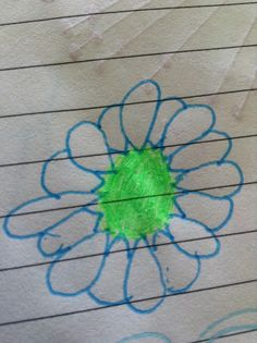 Blue flower drawing.