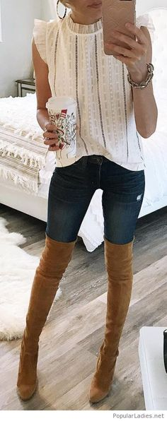 Nice white blouse with jeans and thigh high boots