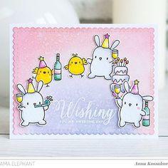 Hey, guys! It's time to have fun! We are on @mamaelephant blog today with Lil' Party Animals set! 😋 И снова привет! Сегодня  хочу показать еще вот такую шальную открытку - милые зверята пустились во все тяжкие ;)) это же понедельник, детка!