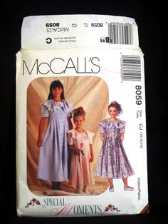 c52ed1a4622 Items similar to Girls Prairie Dress Pattern Size 10 12 14 McCalls 8059  Front Button Full Loose Fit Large Collar Lace Trim Short Sleeves Special  Moments 90s ...