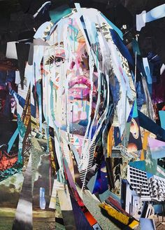 """Saatchi Art is pleased to offer the collage, """"Siren of Titan,"""" by Patrick Bremer. Original Collage: Paper on N/A. Collage Portrait, Collage Artwork, Collage Artists, Mixed Media Collage, Sirens Of Titan, Magazine Collage, Photocollage, Galerie D'art, London Art"""