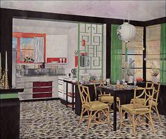 "1935 Armstrong Kitchen - Asian Theme    Published in ""The Story of the Five Dream Kitchens"" by Armstrong Cork Co. This kitchen had in addition to its linoleum floor a Monel stainless steel sink and counter. Very fancy schmancy."