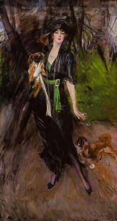 Portrait of a Lady Lina Bilitis with Two Pekinese, 1913, Giovanni Boldini