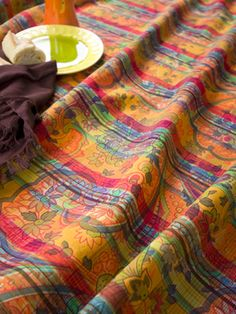 Bohemian on Plaid Tablecloth - April Cornell. Love.