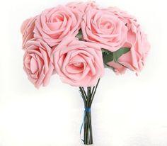 10x Schaumrosen Brautstrauß Blumenstrauß künstlicher Rosenstrauß Deko Pink 7cm