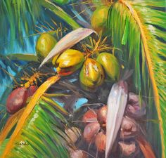 Coconut Palm Tree Tropical Art, Tropical Vibes, Tropical Paradise, Tropical Paintings, Coconut Palm Tree, Caribbean Art, Tropical Landscaping, Surf Art, Paintings I Love