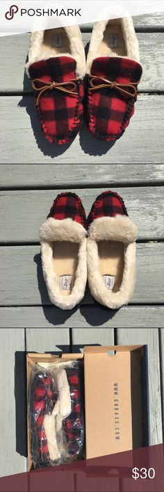 *NEW* GH Bass Dreamy Red Plaid Slippers - In Box Brand new (in-box!) GH Bass red plaid slippers in size 9. Never worn! Sorry, no trades!  Bass Shoes Slippers