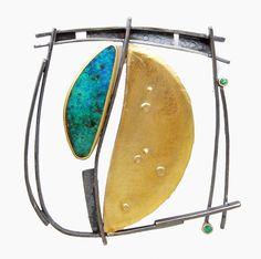 Opal Frame pin/pendant: Boulder opal, emerald, 18k & 22k gold, oxidized silver. 2 1/4 inches square.  $3300.   Sydney Lynch