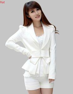 Spring Blazer Feminino Jacket Spring Blazers Women Cardigans White Long Sleeve OL White Blazer Bow Ultra-Slim Suit S-XL 7337