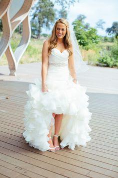 Ruffled Maggie Sottero wedding dress | Photography: Greenhouse Loft Photo - www.greenhouseloftphoto.com  Read More: http://www.stylemepretty.com/midwest-weddings/2014/04/30/modern-greenhouse-loft-wedding/