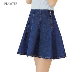 3af556d113 Fashion Denim Skirts Womens 2017 Pleated A-line Short Saia Femme New Spring  High Waist