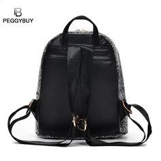 7f84dc2803908 PB Kleine glänzende Casual Bag Rucksack Frauen Helle Pailletten  Umhängetasche Lady Mini Reise Daypack Leder Mode