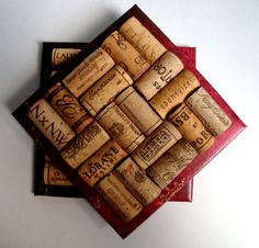 Wine cork trivets! Corks attached to a ceramic tile, with felt on the bottom. $12.50 for two. But you could totally make these!