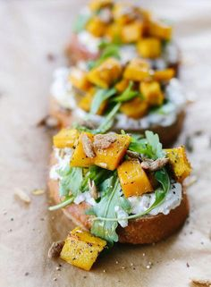 Pumpkin, Ricotta & Arugula Bruschetta recipe paired with Kendall-Jackson Vintner's Reserve Chardonnay is the perfect fall appetizer combo. Menu inspiration ideas for brunch, birthday party, bridal shower, engagement party. Thanksgiving Appetizers, Appetizers For Party, Appetizer Recipes, Popular Appetizers, Best Thanksgiving Recipes, Thanksgiving Feast, Pumpkin Recipes, Fall Recipes, Vegetarian