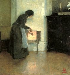Helene Schjerrfbeck .1862-1946,At the Hearth(By the fire) 1893
