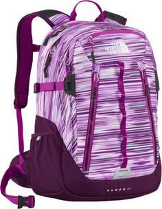 The North Face Women's Surge 2 Laptop Backpack Black Currant Purple Reflection Print - via eBags.com!