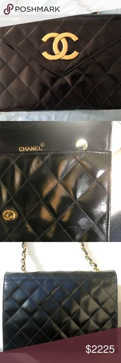 9660ff07d0b2 Authentic Vintage Chanel Bag Authentic Chanel Vintage 80 s 24kt Gold Plated  Quilted Patent Leather Envelope Flap