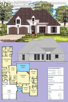 Architectural Designs French Country House Plan 860008MCD Gives You 4 Beds  Including A Secluded Master Suite