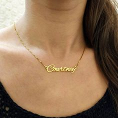 Lillie v01-18k Gold Finished Heart Pendant Luxury Necklace Personalized Name Gifts